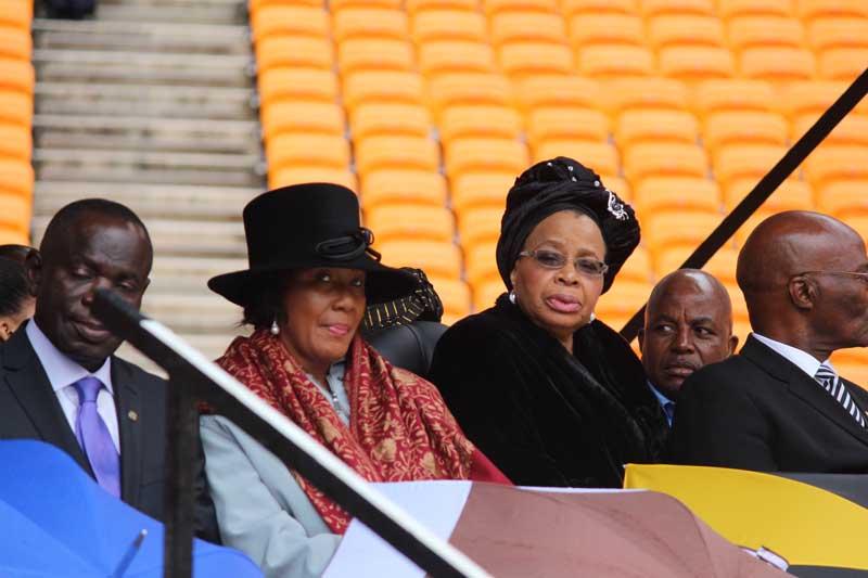 Mrs Gaca Machel flanked by members of the Mandela family