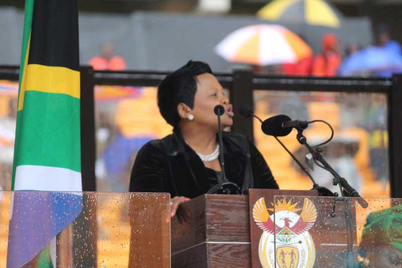 Mrs Baleka Mbethe was co-MC at the memorial service