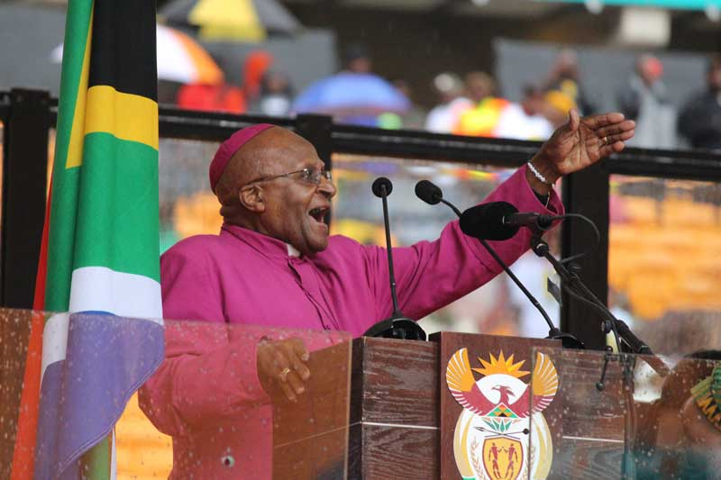 Archbishop Desmond Tutu gave a closing speech at the memorial service of former state president, Nelson Mandela